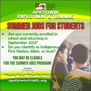 Information on Apatisiwin Summer job program